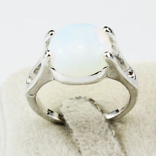 Opal Gemstone Fashion New  Jewelry 925 Silver Men Women Ring Size 8