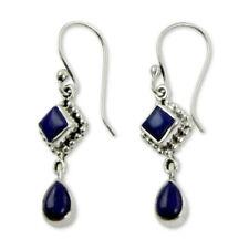 925 Silver Long Blue Lapis Lazuli Dangle Hook Earrings Drop Wedding Jewelry Gift