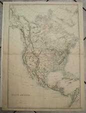 NORTH AMERICA 1863  ETTLING LARGE ANTIQUE ORIGINAL COLORED LITHOGRAPHIC MAP