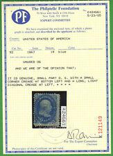 """US #92 Mint OG """"F"""" Grill 1c Franklin w/ PF Certificate Cat: $3000"""