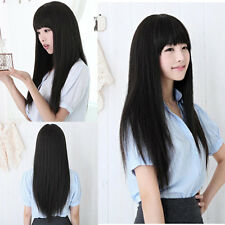 New Black Long Straight Neat bang Hair Cosplay Party Women's Full Wigs