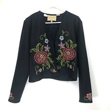Double D Ranch Women's Medium Cardigan Floral Embroidered Wool Blend Black