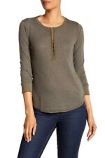 Splendid Women's Emery Rib Long Sleeve Henley T-Shirt Olive S NWT $68