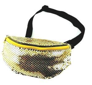 Slim Adjustable Waist Belt Belly Bag Fanny Bum Pack Gold Metallic 2 Pocket Pouch