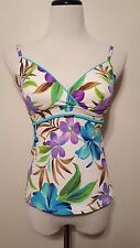 Caribbean Joe Floral Tankini Blue Green Purple Sz 8