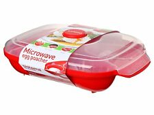 Microwave Poacher for up to 4 Eggs Plastic BPA - Red by Sistema