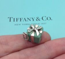 Tiffany & Co Sterling Silver Blue Enamel Gift Box Charm Pendant