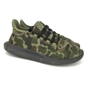 Adidas Mens Originals Tubular Shadow CP8682 Green Textile Running Shoes Size 8.5