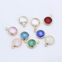 Round faceted Pendant Metal beads Framed Glass connector Charms Earring findings
