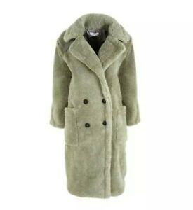 Urban Bliss New Look Light Green Teddy Long Coat Size S 8-10