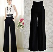 Unbranded Wide Leg High Tailored Trousers for Women