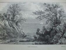 ANTIQUE PRINT 1884 ENGRAVING LAKE MICHIGAN USA FROM LOG CABIN TO WHITE HOUSE