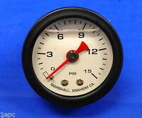 "Marshall Gauge 0-15 PSI Fuel Oil Gas Pressure White Black Casing 1.5"" Liquid"