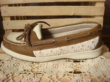 VGC ~ BASS MARLIN~ BROWN & IVORY NUBUCK LEATHER & EYELET LOAFER BOAT SHOES ~7.5M