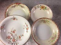 4 - Vintage Mismatched China Fruit Dessert Bowls Wedding Hatter Shabby  # 112