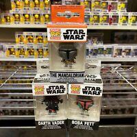 Funko Pop Pocket Keychain : Set of 3 The Mandalorian + Darth Vader + Boba Fett