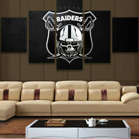 Oakland Raiders Prirate Logo 5 pcs Painting Printed Canvas Wall Art Home Decor