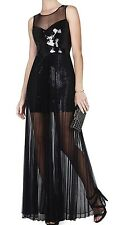 New$548 BCBG Max Azria Cynthia Sequined-Detail Sunburst Pleated B1333 Dress Sz L