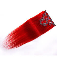 """20"""" Clip In Remy Real Human Women's Hair Extensions Straight 75gr # Red"""
