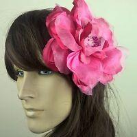 hot pink satin flower fascinator millinery burlesque wedding hat bridal race