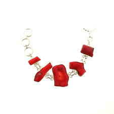 Branch Red Coral Heavy Links Toggle Bracelet 925 Sterling Silver