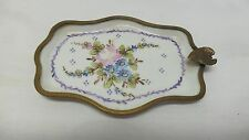 Antique Hand Painted Signed GL Limoges Porcelain Ashtray Bronze Metal Trim