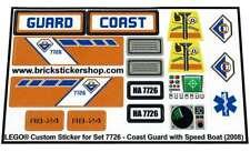 Replica Pre-Cut Sticker for Lego® City Coast 7726 Coast Guard Truck & Speed Boat