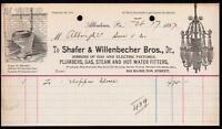 1897 Allentown Pa - Plumbers Gas Steam - Shafer & Willenbecher Bros Letter Head
