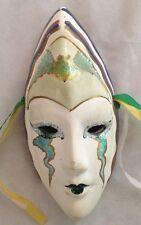 "White Ceramic 6"" Face Mask w Bat on Forehead with Green Enhanced Eyes"