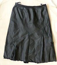 Vintage Real leather long black flared pleated skirt EU 46 UK 18 20 VGC