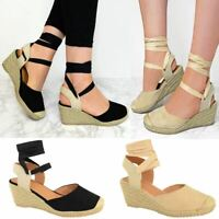 Womens Ladies Low Wedge Heel Sandals Lace Up Shoes Summer Casual Party Flatform