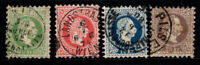 Autriche 1867 Mi. 36,37,38,40 Oblitéré 100% Empereur Franz Joseph