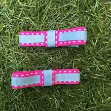 2x Baby Toddler Girl Hair Clips pairs packed BOWtique Alligator -Pink & Blueline