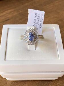 Ceylon Sapphire Natural Zircon Double Halo Rhodium Overlay Sterling Silver Ring