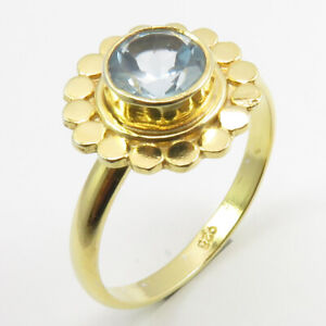 Yellow Gold Plated 925 Pure Sterling Silver BLUE TOPAZ Ring Size 7