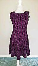 Joe Browns Purple Black Skater Dress Velvet Textured Christmas Party Size 12
