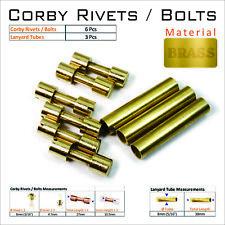 Knife Mounting Hardware 6 Brass Corby Rivets 3 Lanyard Tubes Knife Making Supply