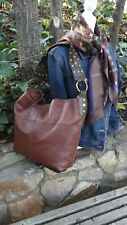 LUCKY BRAND Large Carmel/British Tan Leather Slouch Tote Brass Stud Strap Boho