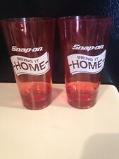 Snap On Tools Collectable Red 20oz Plastic Bring It Home Theme Glasses Set Of 2