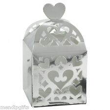20 SILVER LANTERN FAVOUR BOXES HEN PARTY WEDDING CHRISTENING TABLE FAVOURS