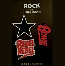 David Bowie Iron-On 3 Pk set of Patches Rock By Junk Food Rebel Rebel Bowie New