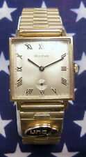 Bulova M7 Square 26mm 10K Rolled Gold Wristwatch w/ Real Gold Emblem and Diamond