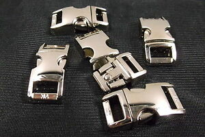 "3/8"" Metal Side Release Buckle Curved Top Silver Paracord Bracelet 1 - 10 Pcs"