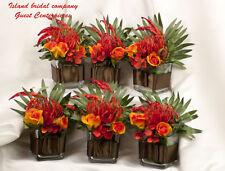 WEDDING FLOWER ARRANGEMENTS SILK TROPICAL ORANGE 6PC