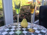 "RARE PAIR Vintage STUART Air twist Harlequin bowl 8 3/4"" Wine glass AIR TWIST 🎁"