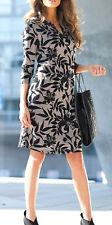 Damen Kleid dunkel blau mit Motiv Druck Blätter braun  36/38 bis 56/58  neu 7458