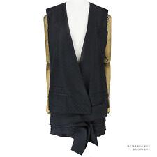 Haider Ackermann Black Monochrome Polka Dot Layered Hem Waistcoat Dress FR36 UK8