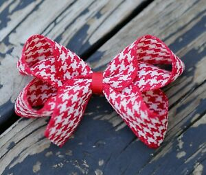 Girl Kids Hair Accessories Cute Hair Clips Bow Houndstooth Check Black Red