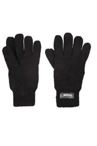 New Adults Ladies Men's Thermal  Winter Wram Thermal Black Gloves One Size