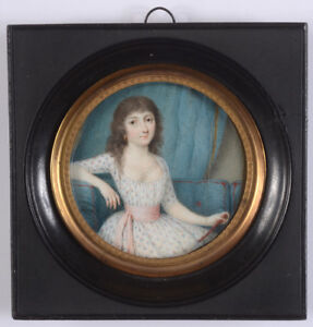 """Young lady seated on sofa"", fine French miniature, 1785/90"